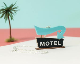 Vintage Motel Sign Necklace | Laser cut necklace | Retro Americana