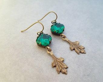 Emerald Green Earrings Art Deco Jewelry Antique Brass Leaf Victorian Earrings Octagon Rhinestone Glass Jewel Art Nouveau Fantasy Weddings