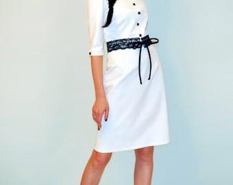 Jersey white dress Long sleeves Autumn dress Casual dress
