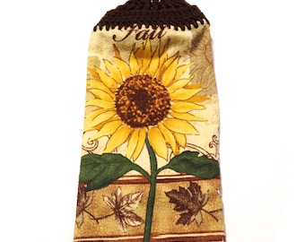 Fall Sunflower Hand Towel With Espresso Brown Crocheted Top