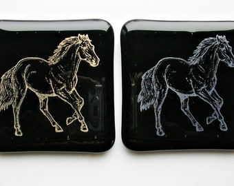 Horse Fused Glass Coasters Set of Two Glass Coasters Horse Art Equestrian Decor Fused Glass Art