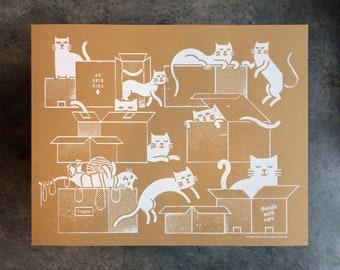 "Box Cat Screenprinted Poster - 20"" x 16"""