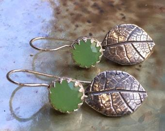 Jade earrings, Sterling silver earrings, botanical earrings, leaf earrings, woodland earrings, green stones earring - End of summer E8053