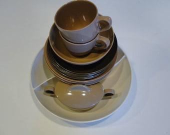 TexasWare Vintage Melmac Plates, Cups & Bowls, Creamer, Sugar Dish with Lid, Lrg Windsor Melmac Divider Dish