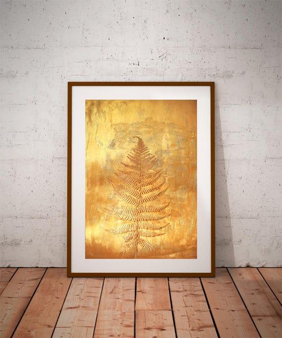 botanical prints gold wall art fern prints large canvas
