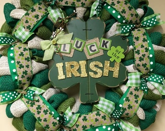St. Patrick's Wreath, St. Pattys Wreath, St. Patricks Day Wreath, Irish Wreath