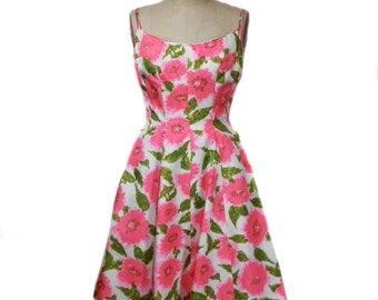 vintage 1950's floral dress / fit and flare / silk / ivory pink green / garden party / women's vintage dress / size extra small