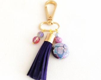 black tassel, clip on purse charm, boho tassels, faux suede bag accessories, lanyard or keychain tassel