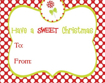 Red Polka Dot with Lollipop Square Holiday Gift Tag