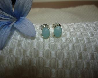 Oval Cabochon Amazonite Earrings in Sterling Silver    #736