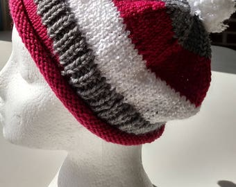 Striped Pompom Cutie  Knitted Hat