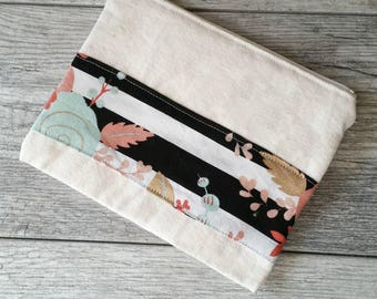 Striped Floral -- Snack / Sandwich / Quart / Gallon Size Reusable Bag -- Natural Canvas -- Made to Order