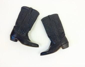 Vintage leather boots vintage boots womens 7.5 cowgirl boots womens tall leather boots leather riding boots leather black cowgirl boots 7.5