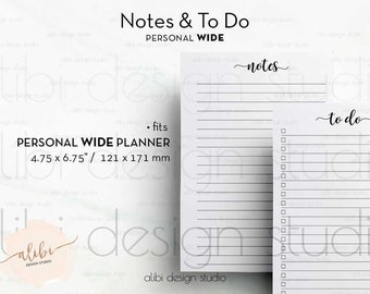Personal WIDE, Personal Wide Planner, To Do List, Notes, To Do List Printable, Printable Planner, Personal Wide Insert, Personal Wide Insert