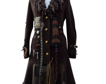 Steampunk sweater COAT, boho Military clothing, OOAK festival art to wear, tattered long grunge patchwork Coat. Plus size. Ready to ship