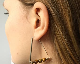 Triangle earrings/gemstone earrings/drop earrings/Sterling silver/earrings /tiger eye/gold/beaded earrings/chakra/luck/solar plexus