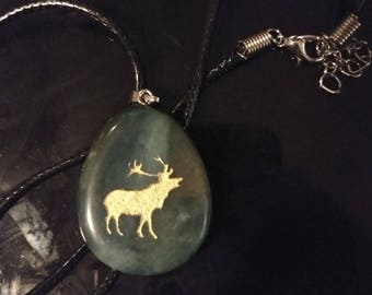 Elk Spirit Stone Pendant | Necklace | New Age | Animal