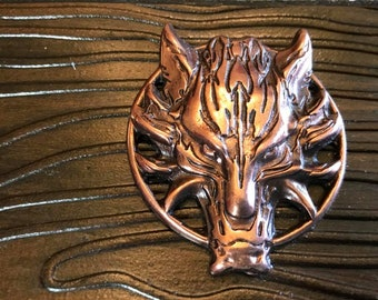 "2.5"" wide Leather cuff Wolf on dark antique brown leather"