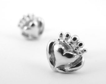 Handmade Claddagh Stud Earrings, Unique Claddagh, Sterling Irish Cladaugh Jewelry, Claddagh earrings, Celtic Promise Ring, Gifts for Her 191