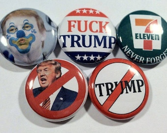 ON SALE! 5 - 1 inch TRUMP buttons, flatbacks, magnets, or keychains