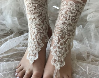 Ivory barefoot sandals , Lace sandals, Wedding anklet, Beach wedding barefoot sandals, Bridal sandals, Bridesmaid gift, Beach Shoes