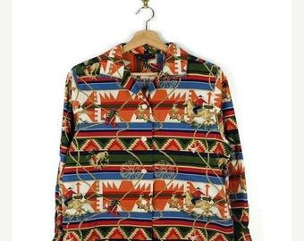 ON SALE Vintage Tribal Inspired Stripe Cowboy/Rancher printed cotton Blouse/horse