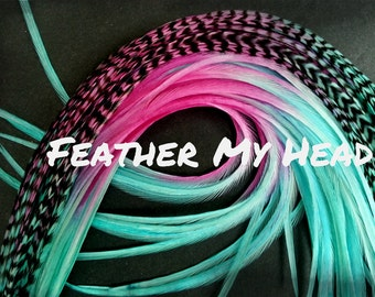 "Feather Hair Extensions - Multi Color Medium Length 7"" - 9"" (18-23cm) Long - 5 Pc Pixie Dust - Pink - Aqua"