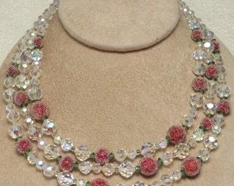 Vintage retro designer signed Vendome aurora borealis crystal red pink raspberry sugar bead emerald green triple strand crystal necklace