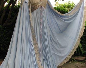 Extraordinary 1970's Vintage Lucie Ann Periwinkle Blue Pleated Peignoir Set