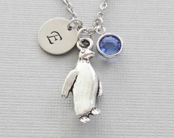 Penguin Necklace, Winter, Arctic Bird, Aquarium, Animal Jewelry, Swarovski Birthstone, Silver Initial, Personalized Monogram, Hand Stamped