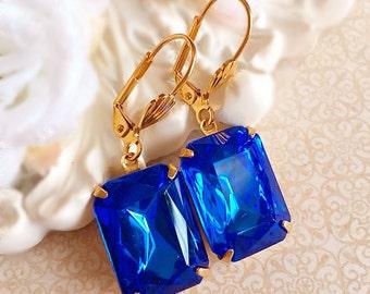 Art Deco Jewelry - Sapphire Earrings - Blue Earrings - Bridesmaid Earrings - Art Deco Earrings - WINDSOR Sapphire