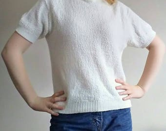 MINT CONDITION 60's Textured Acrylic Mad Men Short Sleeved Cardigan Pullover by Futurama Knit Toronto, White Rockabilly Cardigan, Size M/L