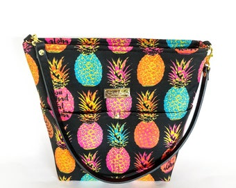 MTO - You Had me At Aloha Pineapple Shoulder Bag with Leather Strap - 9 pockets