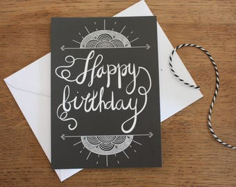 "Card A6, ""Happy birthday"", calligraphy, black, Slate, typography, design, pattern"