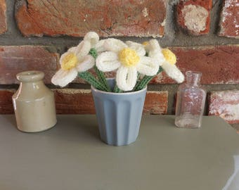 Five Hand Knitted Daisies / Flowers in Vase