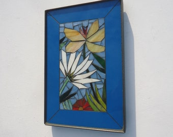 8x12 MOSAIC FLORAL VIGNETTE  - hand made - decortive glass mosaic mini panel in metal frame - indoor or outdoor wall art royal blue