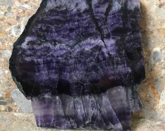Large Fluorite Slice, Purple, Stripes, Reiki Healing Crystal, approx 290g