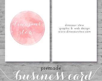 watercolor business card design - pink watercolor - we design, you print