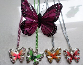 Butterfly Necklace Pink Green Yellow Or Red