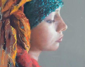 CUSTOM Pastel Portrait - young woman