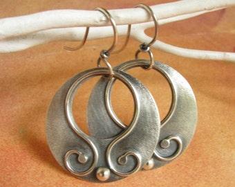Argentium Sterling Silver Gypsy Hoop Earrings, Boho Contemporary Artisan Metalsmith Jewelry