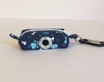 Waste Bag Dispenser, Leash Bag, Dog Poop Bag Holder, Blue Paw Print, Dog Gift, Gift Under 15