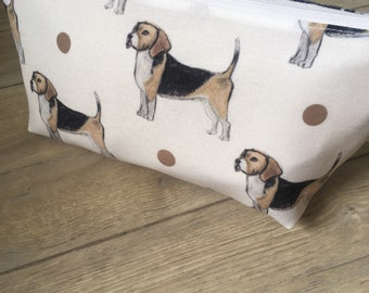 Beagle, makeup bag, cosmetics bag, for beagle lovers, for dog lovers, beagle gift