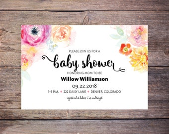 Printable Floral Baby Shower Invitation, Flower, Invite, Celebrate Mommy to Be Invite, Flowers, New Baby - Willow