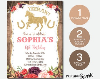 Cowgirl Invitation, Instant Download Invitation, Pony Birthday Party, Edit Yourself!