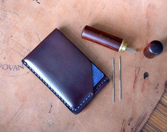 Shell Cordovan wallet. Credit card case, Handsewn Burgundy #8 Horween Cordovan leather front pocket card case