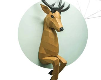 Papercraft Deer out of wall 3D Low Poly Paper Sculpture DIY gift Decor for home office pepakura pattern template handmade animals paperfreak