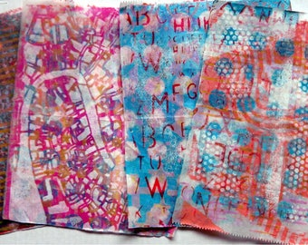 Original Handmade Gelli Print Collage Artist Papers for Mixed Media and Art Journaling 1203_01