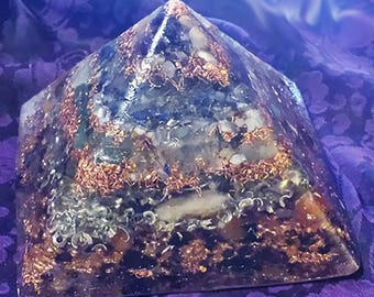 Third Eye/Crown Opening Crystals Orgone Pyramid (3 Sizes Available)