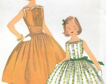 Sz 12-FACTORY FOLDED 1950's Girls' Dress and Cummerbund Simplicity 2056 Breast 30